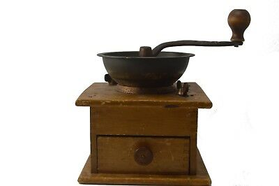 Vintage Coffee Grinder  French Style Wood and Iron Hand Crank