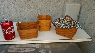 Longaberger Lot of 3 Small Baskets new condition