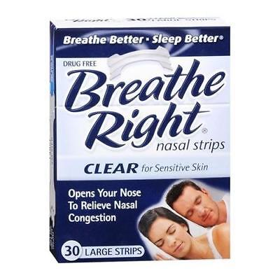 Breathe Right Nasal Strips Clear Sensitive Skin Large 30 EA