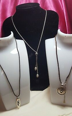 925 Sterling Silver Desiginer 3Pc Lot Silpada Italy Necklace Chain Pendent Nice!