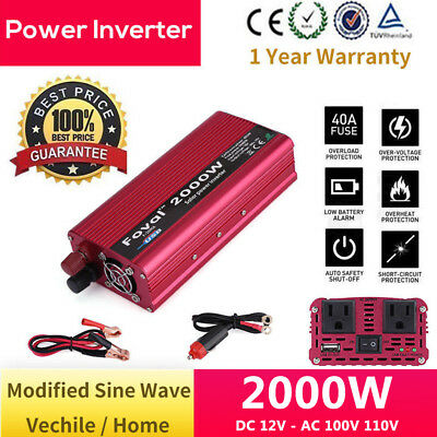 2000W DC 12V to AC 110V 100V Car Power Inverter Charger Converter USB Charger