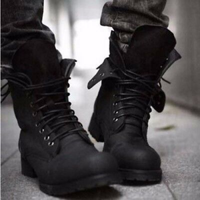 Fashionable Mens Retro Combat Boots Winter Leather Short Army Work Ankle Shoes