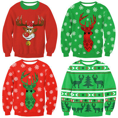 Unisex UGLY CHRISTMAS SWEATER Vacation Santa Elk Funny Womens Men Sweatshirt RED