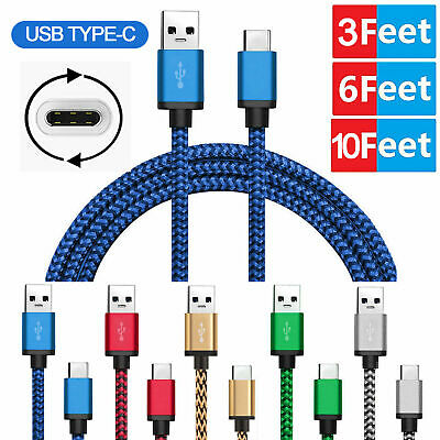 Nylon Braided Rope USB-C Type-C 3.1 Data Sync Charger Charging Cable Cord LOT