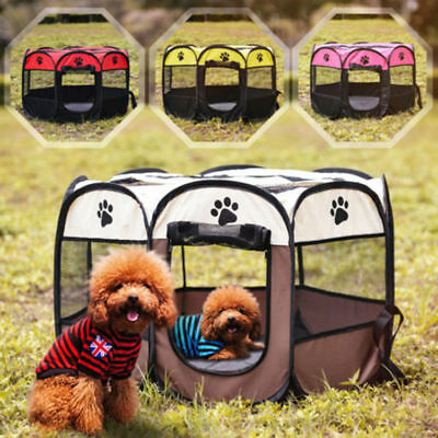 Hot Pet Dog Cat Playpen Tent Portable Exercise Fence Oxford Outdoor Pets Cage UK