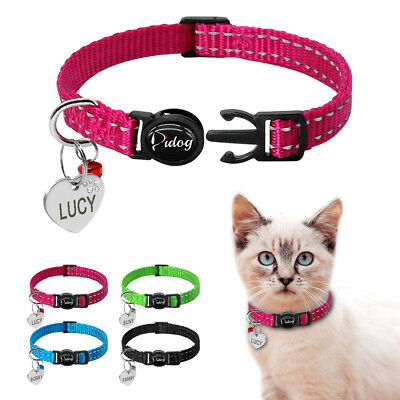 Pet Puppy Dog Kitten Cat Break Away Collar & Tag Reflective Safety Quick Release