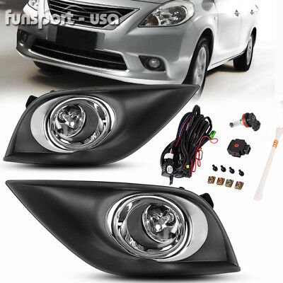 for 2015-2017 Nissan Versa Sedan 4Dr Clear Front Bumper Fog Light Lamps w/Wiring