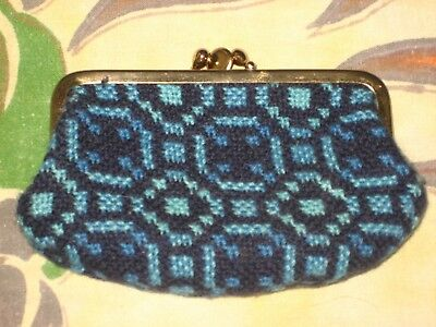 Retro Vintage Welsh Wool Woven Tapestry Double Compartment Coin Purse