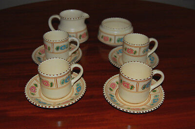 Vintage Honiton Pottery 10 Piece Coffee Set. Pink & Blue Floral pattern, VGC.