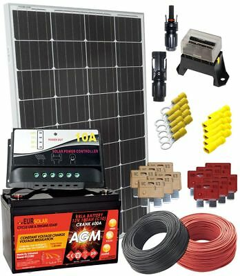 Solar Monocrystalline 100W 12V Kit with AGM 100Ah Battery and electrical accesso