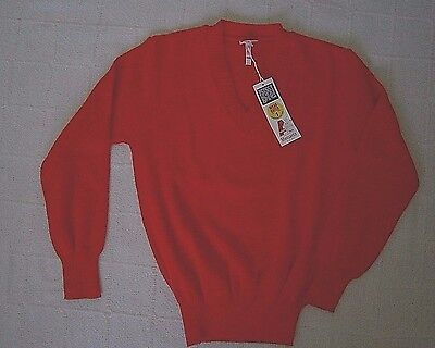 """Vintage V-Neck  Jumper - Age 11-12 Approx-32"""" Chest - Red - Acrilan   - New"""