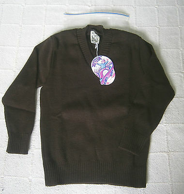 Vintage V-Neck Sweater - Age 8 - Brown -  Acrylic - French - New