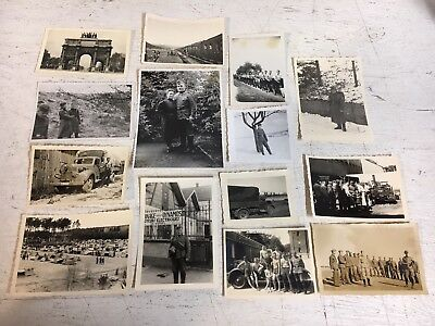 WW2 Photographs Picture Lot x14 German Soldats Trucks Helmets Youth No Shirts