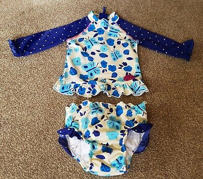 Girls two piece swimming costume/ swim nappy, John Lewis 12-18 months