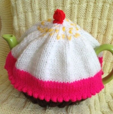 NEW HAND KNITTED cupcake TEA COSY FOR A LARGE TEAPOT