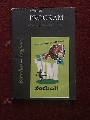 Brazil v England Programme From 1958 World Cup Finals