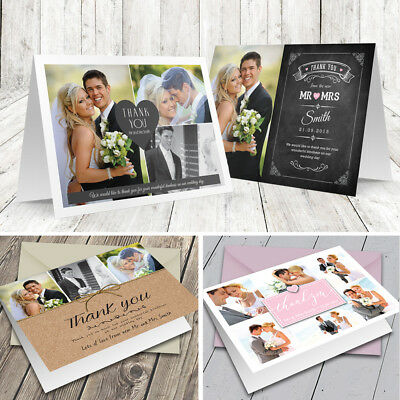 Personalised Folded Wedding Thank You Cards with Photo + Colour Envelopes