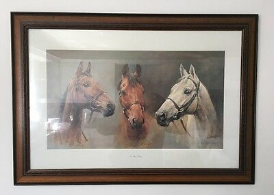 """RARE Framed """"WE THREE KINGS"""" Horse Racing Print, Red Rum, Arkle by S L Crawford"""