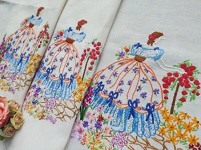 Vintage Hand Embroidered Chair&Sette Back Set with Crinoline Ladies(2 ITEMS)