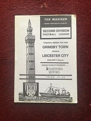 Grimsby Town v Leicester City 17 March 1992 4-Page Programme