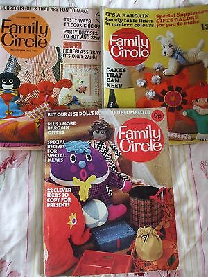 3 x FAMILY CIRCLE MAGAZINE 1967 - 71 KNITTING SEWING COOKING HOME IDEAS