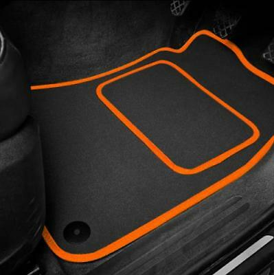 High Quality Car Floor Mats Set In Black/Orange To Fit Hyundai Amica (1997-2007)