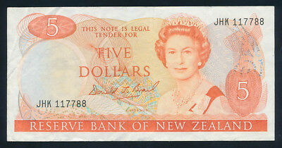 "New Zealand: 1989 $5 Brash QEII Portrait. RARE TRIPLE LUCKY NOS ""117788"""