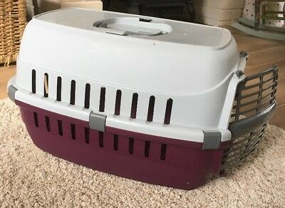 Cat, Kitten Or Small Dog Carrier Transport. Burgundy And Grey.