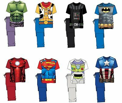 Mens Novelty Pyjamas PJ's Cotton Nightwear Marvel Batman Sizes S-XL NEW FREE P&P