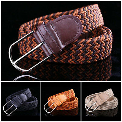 Men's Stretch Braided Elastic Woven Canvas Buckle Belt Waistband Straps 5 Colors