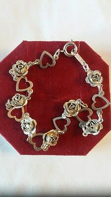 Vintage Hallmarked Sterling Silver  7inch Bracelet hearts and roses