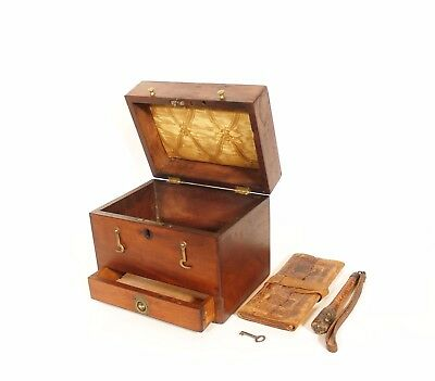 c. 1840 Georgian Campaign Box w/Hand-Tooled Billfold & Woven Leather Billy Club