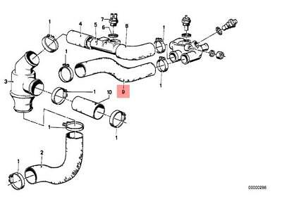 Genuine BMW E28 Saloon Thermostat Water Hose OEM 11531276648