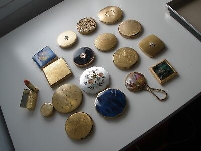 Vintage lot of early powder compacts