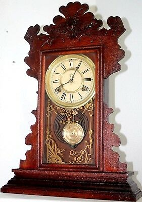 "Antique Running Waterbury 1880's ""flint"" Carved Parlor Eastlake Kitchen Clock."
