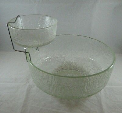 Indiana Glass Clear Crystal Ice Chip & Dip w/ Chrome Metal Bowl Holder Tree Bark
