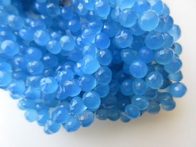Blue Chalcedony Faceted Onion Briolette Beads 8mm Each 7.5 Inch Strand GDS640