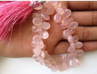 Pink Chalcedony Faceted Pear Shaped Briolette Beads 10-11mm Each 7.5 Inch Strand