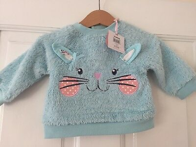 BNWT Baby Girl Cat Turquoise Jumper 0-3 Months M&Co