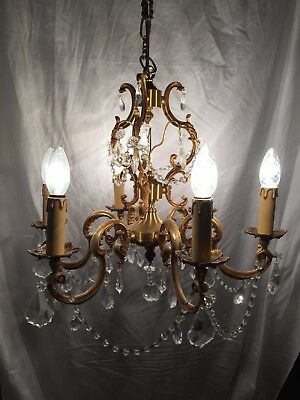 Large Antique French Louis XV bronze 6 arms light chandelier crystal pendants 2