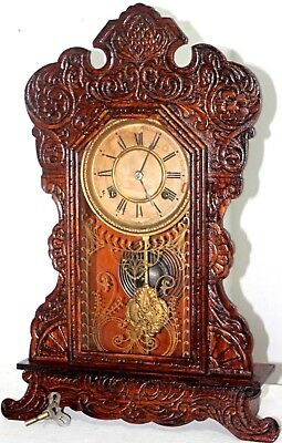 "Antique Running Waterbury 1906 ""forum"" Carved Oak Eastlake Kitchen Parlor Clock."