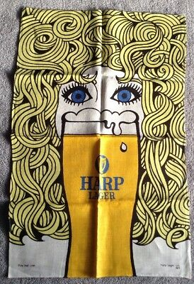Old  Harp Lager Pure Irish Linen Tea Towel Glass Cloth (Never Used)