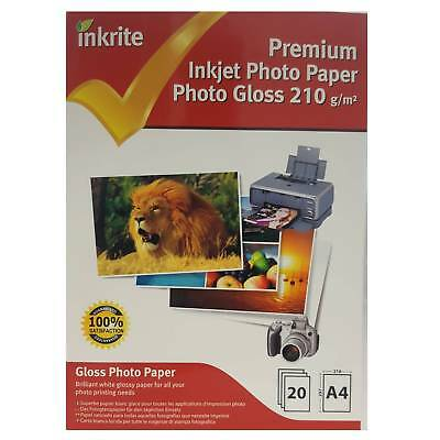 Professional Glossy Photo A4 Inkrite 210gsm Paper - 20 Sheets