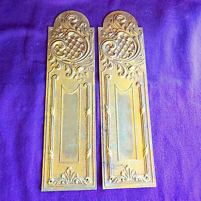 2 Pair Brass Touch Plates Art Nouveau French Hardware Door Hardware Push
