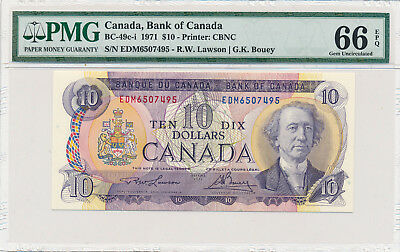 Bank of Canada 10 Dollars 1971 BC-49c-i - PMG 66 Gem UNC EPQ; Retail $75