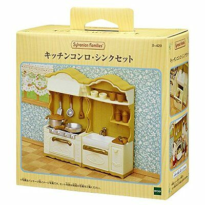 New Sylvanian Family Calico  Furniture Kitchen Stove  Sink Set KA-420 2017 F/S