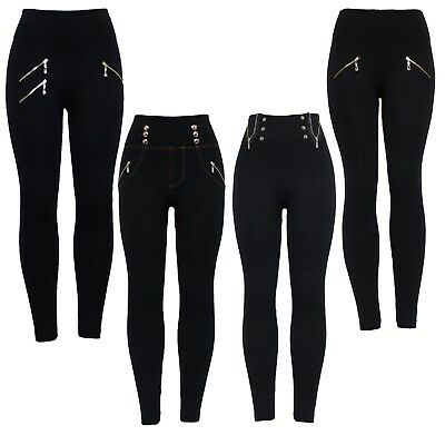 New Womens Black High Waist Slim Skinny Zip and Button Leggings Stretchy Jegging