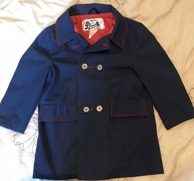 Vintage Children's Coat Mac Age 4yrs - Blue With Red Lining Drumella Of Scotland