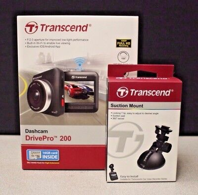Transcend 16GB DrivePro 200 Car Video Recorder With Suction Mount TS16GDP200M