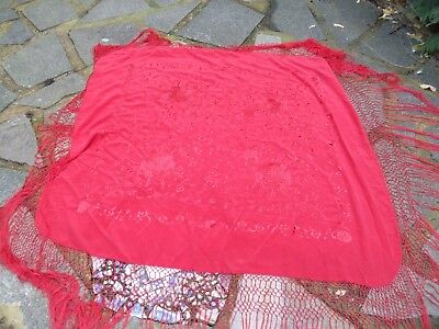 Vintage Red Silk Fringed Shawl,embroidered With Flowers